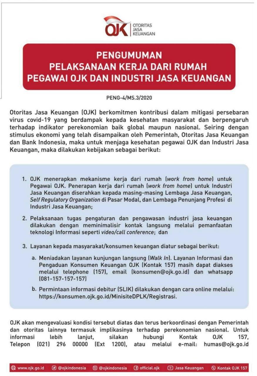 Pelaksanaan Kerja Dari Rumah Pegawai Ojk Dan Industri Jasa Keuangan